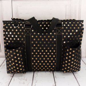 Handbags - Metallic Gold Polka Dot Large Organizer Tote